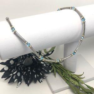 David Yurman Hampton Blue Topaz Necklace 925/14K